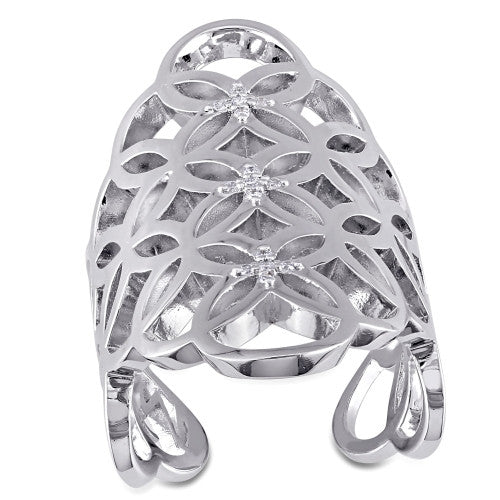 Catherine Malandrino 1/10 CT TW Diamond Circle Linked Gladiator Ring in Sterling Silver