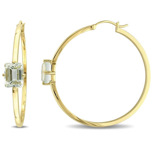4 3/8 CT TGW Green Amethyst Hoop Earrings in 18k Yellow Gold Plated Sterling Silver