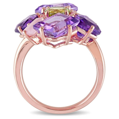Catherine Malandrino 8 3/4 CT TGW Amethyst, Guava Quartz and Peridot Cluster Cocktail Ring in 18k Rose Gold Plated Sterling Silver