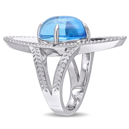 10 CT TGW Swiss Blue Topaz Open Link Cocktail Ring in Sterling Silver