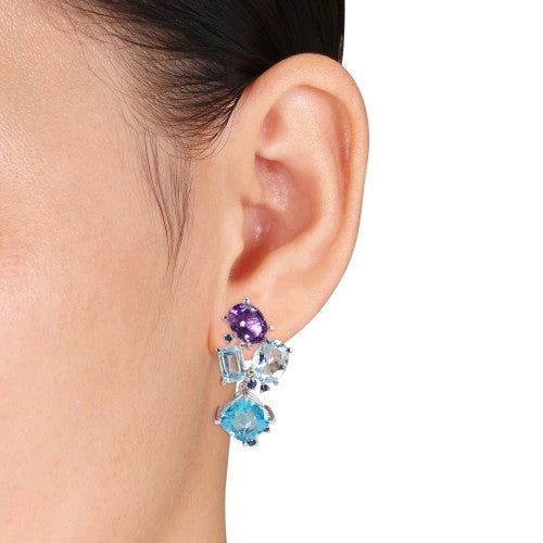 17 3/5 CT TGW Amethyst, Sky Blue and Swiss Aquamarine Topaz and Sapphire Cluster Earrings in Sterling Silver