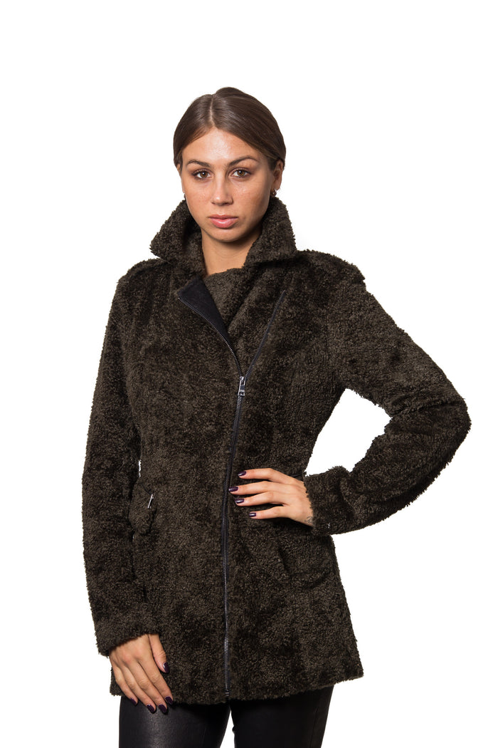 Flat Faux Curly Lamb Fur Coat with Wool Combo and Asymmetrical Zipper Closure