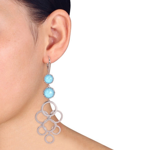 Catherine Malandrino 22 1/2 CT TGW Turquoise and Diamond Circle Linked Drop Leverback Earrings in Sterling Silver