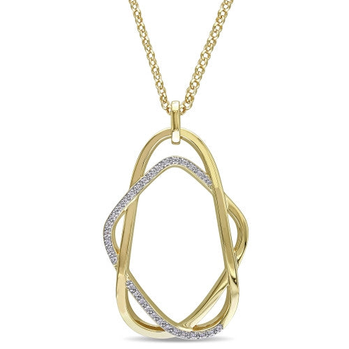 Catherine Malandrino 1/5 CT TW Diamond Interlace Pendant with Chain in 18k Yellow Gold Plated Sterling Silver