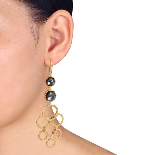 Catherine Malandrino 25 1/3 CT TGW Hematite and Diamond Circle Linked Drop Leverback Earrings in 18k Yellow Gold Plated Sterling Silver