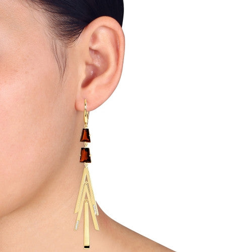 14 CT TGW Garnet and 1/10 CT TW Diamond Geometric Drop Leverback Earrings  in 18k Polished Yellow Gold Plated Sterling Silver