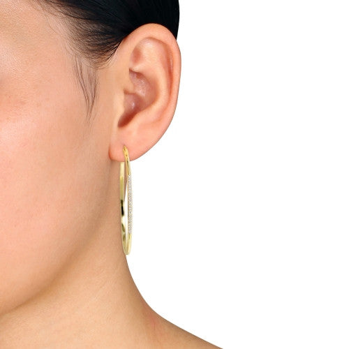 Catherine Malandrino 1/6 CT TW Diamond Hoop Earrings in 18k Yellow Gold Plated Sterling Silver