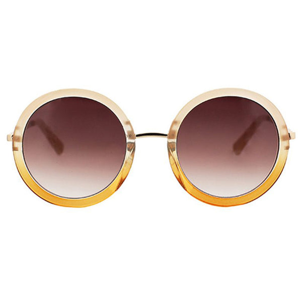 Extreme Retro Round Sunglasses with Metal Temples & Nosebridge