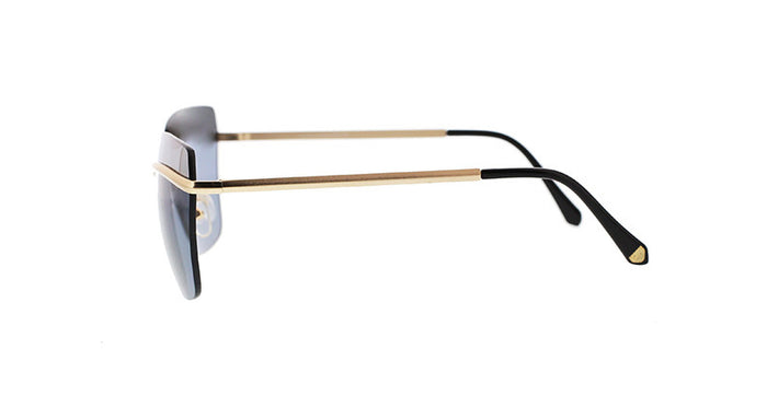 Rimless Geometric Metal Sunglasses with Mid-Lens Top Bar