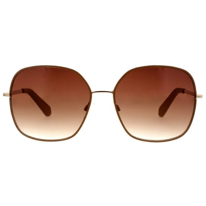 Metal Square Sunglasses With Pleather Overlay