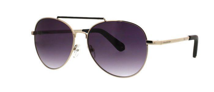Metal Rounded Aviator Sunglasses With Textured Pleather Overlay