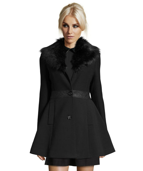 Black Wool Coat with Faux Fur Trim