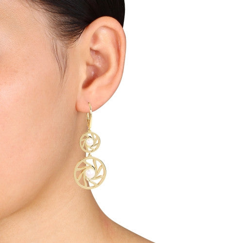 Freshwater Cultured Pearl Swirl Drop Leverback Earrings in 18k Yellow Gold Plated Sterling Silver