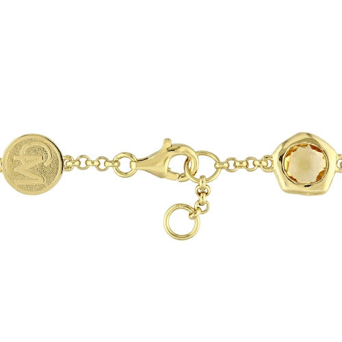 Catherine Malandrino 3 3/8 CT TGW Peridot and Citrine Station Bracelet in 18k Yellow Gold Plated Sterling Silver