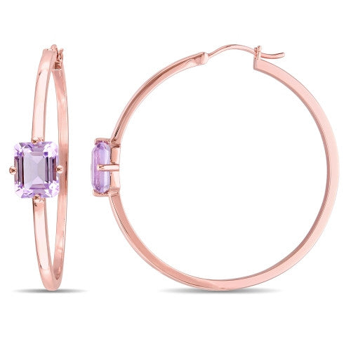 Catherine Malandrino 4 3/5 CT TGW Rose de France Hoop Earrings in 18k Rose Gold Plated Sterling Silver