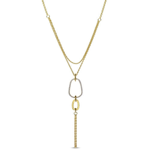 Catherine Malandrino 1/4 CT TW Diamond Abstract Tiered Lariat Necklace with Chain in 18k Yellow Gold Plated Sterling Silver