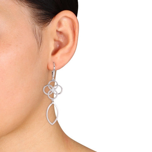1/6 CT TW Diamond Circle Linked Drop Leverback Earrings in Sterling Silver