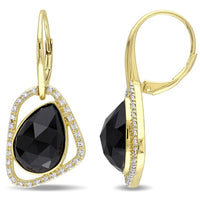 Catherine Malandrino 7 1/3 CT TGW Black Agate and 1/4 CT TW Diamond Abstract Leverback Earrings in 18k Yellow Gold Plated Sterling Silver