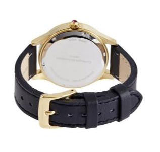 Black Leather Watch with White Face