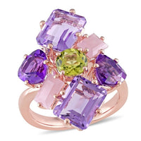 8 3/4 CT TGW Amethyst, Guava Quartz and Peridot Cluster Cocktail Ring in 18k Rose Gold Plated Sterling Silver
