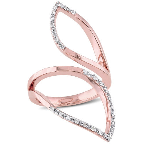 1/6 CT TW Diamond Leaf Ring in 18k Rose Gold Plated Sterling Silver