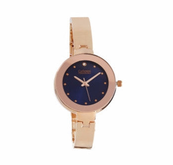 Rose Gold Watch with Navy Face