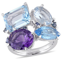 Catherine Malandrino 12 3/5 CT TGW Amethyst, Sky Blue and Swiss Aquamarine Topaz and Sapphire Cluster Cocktail Ring in Sterling Silver