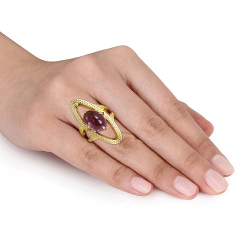 8 CT TGW Amethyst Open Link Cocktail Ring in 18k Yellow Gold Plated Sterling Silver