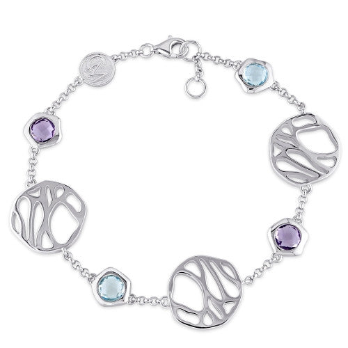 3 5/8 CT TGW Blue Topaz and Amethyst Station Bracelet in Sterling Silver