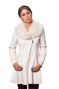 Luxurious Faux Shearling Fit & Flare Asymmetrical Zip Coat With Oversized Faux Fur Collar