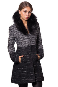 Knit Look Textured Combo Wool Coat with Faux Leather Trimming and Oversized Faux Fur Collar
