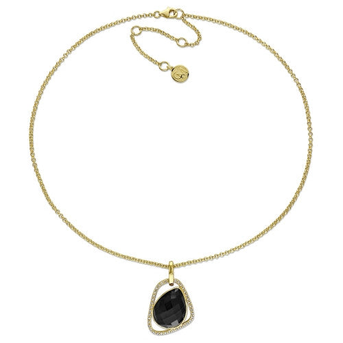 Catherine Malandrino 14 CT TGW Black Agate and 1/5 CT TW Diamond Abstract Pendant with Chain in 18k Yellow Gold Plated Sterling Silver