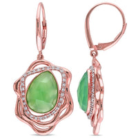 7 1/3 CT TGW Green Onyx and 1/4 CT TW Diamond Abstract Leverback Earrings in 18k Yellow Gold Plated Sterling Silver