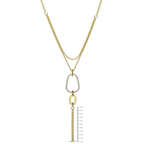 1/4 CT TW Diamond Abstract Tiered Lariat Necklace with Chain in 18k Yellow Gold Plated Sterling Silver