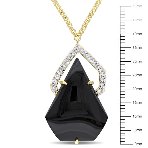 Catherine Malandrino 21 7/8 CT TGW White Sapphire and Black Agate Geometric Necklace in 18k Yellow Gold Plated Sterling Silver