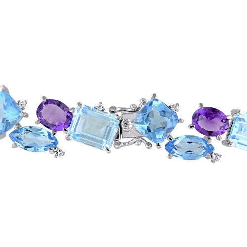 Catherine Malandrino 63 3/4 CT TGW Amethyst, Sky Blue and Swiss Aquamarine Topaz and Sapphire Cluster Bracelet in Sterling Silver