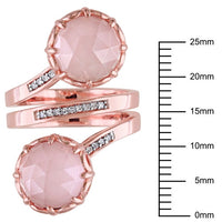 8 CT TGW Guava Quartz and 1/10 CT TW Diamond Wrap Ring in 18k Rose Gold Plated Sterling Silver