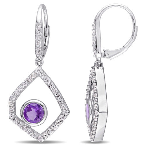 Catherine Malandrino 1/10 CT TW Diamond, Amethyst and White Sapphire Geometric Leverback Earrings in Sterling Silver