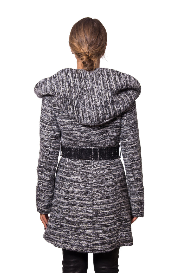 Textured Wool Coat with Oversized Hooded Shawl Collar