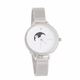 Silver Watch with White Face