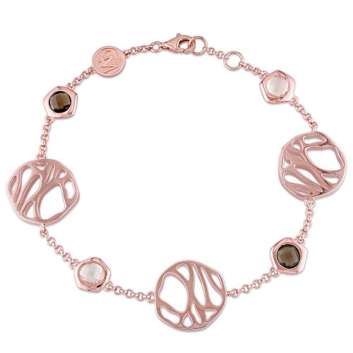 Catherine Malandrino 4CT TGW Rose Quartz and Smokey Quartz Bracelet in 18k Rose Gold Plated Sterling Silver