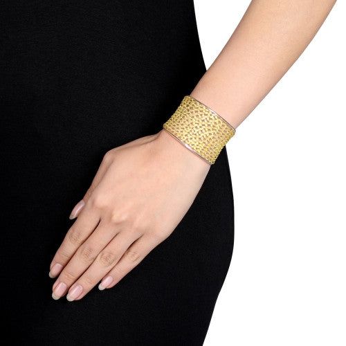 Lattice Cuff Bracelet in 2-Tone Yellow and White Sterling Silver