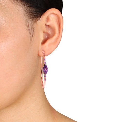 Catherine Malandrino 3 1/4 CT TGW Amethyst Hoop Earrings in 18k Rose Gold Plated Sterling Silver