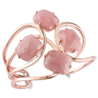 Catherine Malandrino 64 CT TGW Guava Quartz Interlace Cuff Bracelet in 18k Polished Rose Gold Plated Sterling Silver