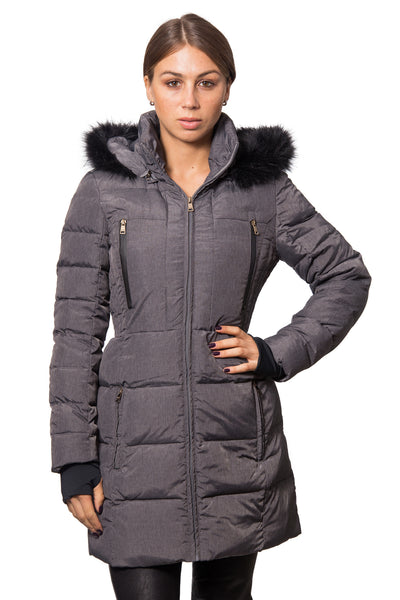 Heathered Dark Grey Down Coat with Faux Fur Trim and Back Adjustable Waist