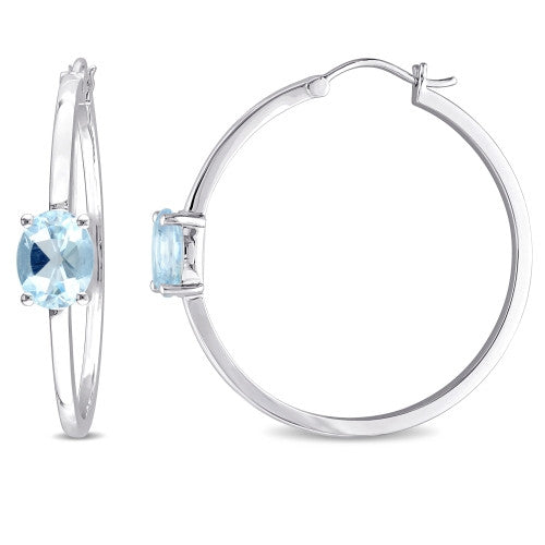 Catherine Malandrino 5 CT TGW Blue Topaz Hoop Earrings in Sterling Silver