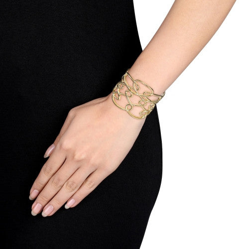 Interlace Cuff Bracelet in 18k Yellow Gold Plated Sterling Silver