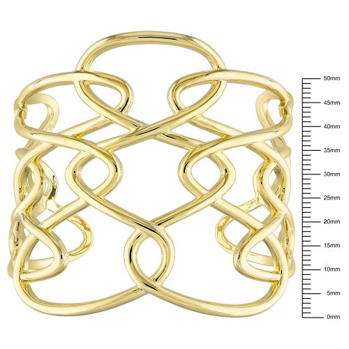 Catherine Malandrino Interlace Cuff Bracelet in 18k Yellow Gold Plated Sterling Silver