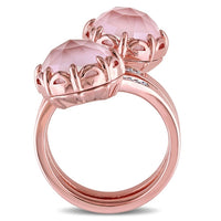 Catherine Malandrino 8 CT TGW Guava Quartz and 1/10 CT TW Diamond Wrap Ring in 18k Rose Gold Plated Sterling Silver