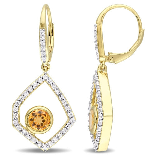 Catherine Malandrino 1/10 CT TW Diamond, Citrine and White Sapphire Geometric Leverback Earrings in 18k Yellow Gold Plated Sterling Silver